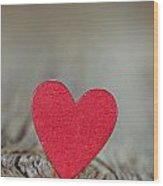 Wooden Red Heart On Rustic Background Wood Print