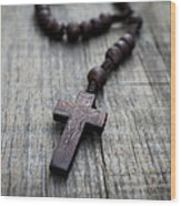 Wooden Rosary Wood Print by Aged Pixel
