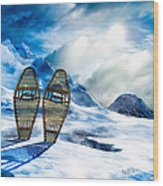 Wooden Snowshoes  Wood Print