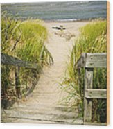 Wooden Stairs Over Dunes At Beach Wood Print