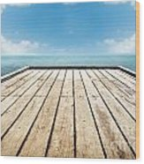 Wooden Surface Sky Background Wood Print