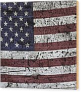 Wooden Textured U. S. A. Flag Wood Print