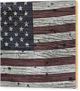 Wooden Textured Usa Flag3 Wood Print by John Stephens