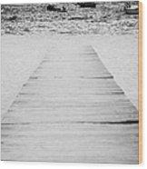 wooden walkway across beach leading down to boats in the sea Playa De Las Teresitas North Tenerife Canary Islands Spain Wood Print