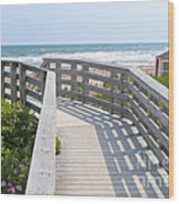 Wooden Walkway To Ocean Beach Wood Print