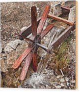 Wooden Water Wheel Wood Print