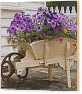 Wooden Wheelbarrow Full Of Flowers Wood Print
