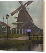 Wooden Windmill In Holland Wood Print