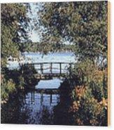 Woodfoot Bridge Of Williams Bay Wi Over Geneva Lake  Wood Print