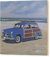 Woodie On Beach Wood Print