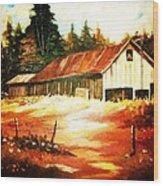 Woodland Barn In Autumn Wood Print