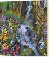 Woodland Forest Fairyland Wood Print by Alixandra Mullins