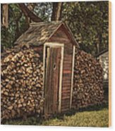 Woodpile And Shed Wood Print