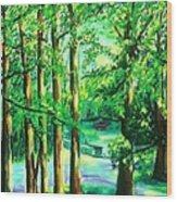 Woodside View Green Wood Print