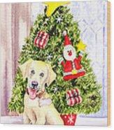 Woof Merry Christmas Wood Print