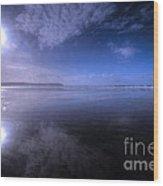 Woolacombe Beach In Blue  Wood Print