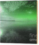 Woolacombe Beach In Green  Wood Print