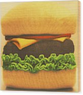 Woolly Burger Wood Print