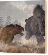 Woolly Rhino And Cave Lion Wood Print
