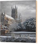 Worcester Cathedral Cloudy Wood Print