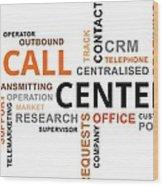 Word Cloud - Call Center Wood Print
