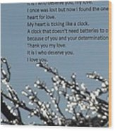Words Of Love With Glittering Tree Stems Wood Print