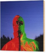 Worker In A Chemical Spillage Suit With A Gas Mask Wood Print