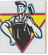 Worker With Hammer Retro Wood Print by Aloysius Patrimonio