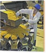 Worker With Pasta Packing Machine Wood Print by Science Photo Library