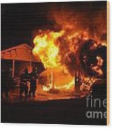 Working Garage Fire Wood Print by Steven Townsend