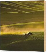Working The Fields In The Palouse Wood Print