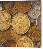 World Coins Wood Print by Mark Miller