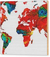 World Map 12 - Colorful Red Map By Sharon Cummings Wood Print