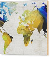 World Map 16 - Yellow And Blue Art By Sharon Cummings Wood Print by Sharon Cummings