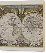 World Map 1664 Ad With Small Matching Border Wood Print