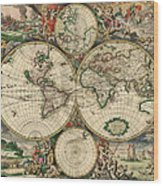 World Map 1689 Wood Print