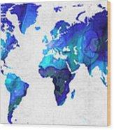 World Map 17 - Blue Art By Sharon Cummings Wood Print by Sharon Cummings