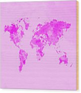 World Map 1n Wood Print