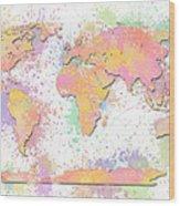 World Map 2 Digital Watercolor Painting Wood Print