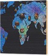 World Map And Sagittarius Constellation Wood Print
