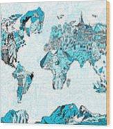 World Map Blue Collage Wood Print
