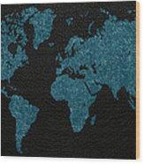 World Map Blue Vintage Fabric On Dark Leather Wood Print