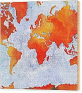 World Map - Citrus Passion - Abstract - Digital Painting 2 Wood Print