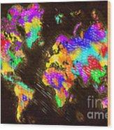 World Map Color Wood Print