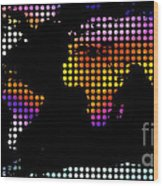 World Map Colourful Dots #2 Wood Print