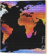 World Map Colourful Dots  Wood Print