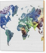 World Map Cosmos Wood Print