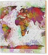 World Map Digital Watercolor Painting Wood Print