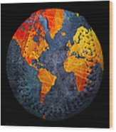 World Map - Elegance Of The Sun Baseball Square Wood Print by Andee Design