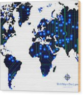 World Map In Blue Lights Wood Print